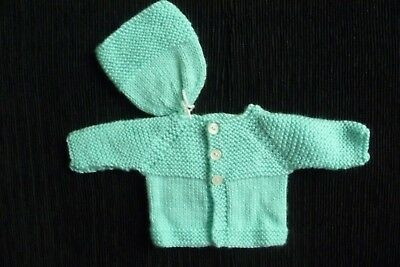 Baby clothes UNISEX BOY GIRL premature/tiny<5lbs/2.3kg soft, aqua cardigan + hat