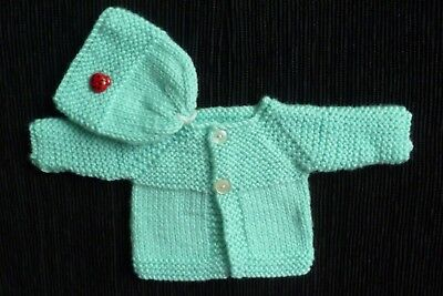 Baby clothes UNISEX BOY GIRL premature/tiny<4lbs/1.8kg soft, aqua cardigan + hat