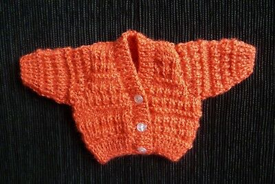 Baby clothes UNISEX BOY GIRL premature/tiny<3.5lb/1.6kg rust cardigan SEE SHOP!