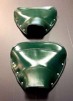 Single seat / saddle cover (pair) - front & rear green for Lambretta