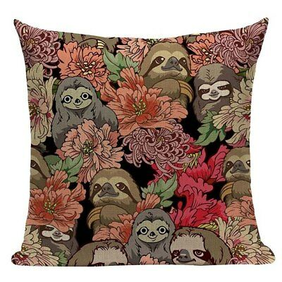 Sloth Design Cushion Cover, fun and floral, cotton canvas, modern, sloths, pink