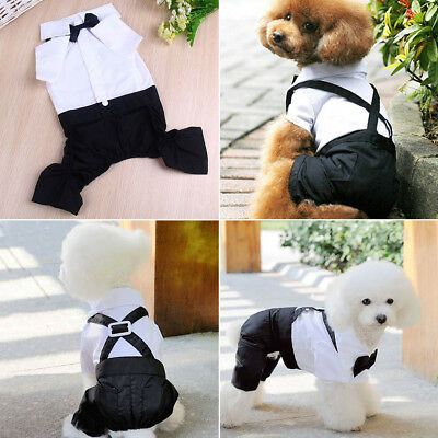 New Dog Pet  Bib Puppy Clothes Tuxedo Bow Tie Shirt Suit Stylish  Apparel Outfit