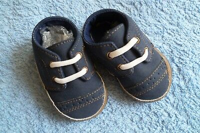 Baby clothes BOY 3-6m canvas, navy blue/white/brown, padded pram shoes SEE SHOP!