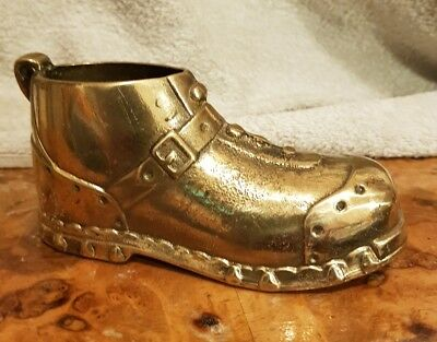 Lovely Small Antique Solid Brass Boot Late 19th or Early 20th Century