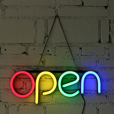 OPEN LED Neon Sign Tube Light Handmade Visual Artwork Bar Pub Club Wall Decor