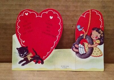 Vintage A-Meri-Card Valentine Girl In Tire Swing Cat Fold Out Stands