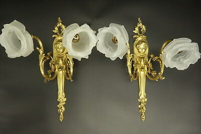 Pair Large Sconces, Cherub, Louis Xv Style, Early 1900 - Bronze - French Antique