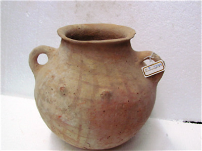 early bronze age terra cotta jar with net decoration and  4 nobs