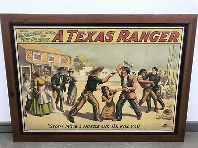 The Greatest Show of the Plains, A Texas Ranger Vintage Lithograph AUTHENTIC