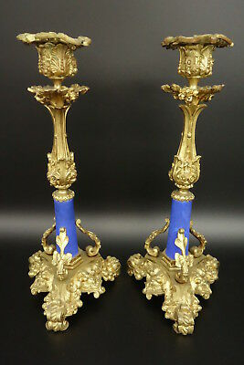 Pair Of Candlesticks, Louis Xv Style, 19Th - Bronze & Ceramic - French Antique