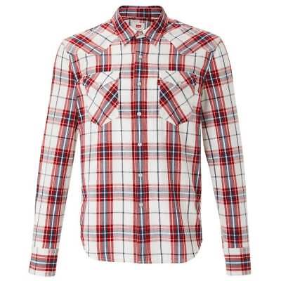fa014ff2330 LEVIS BARSTOW WESTERN Wildcat Mens Long Sleeve Cotton Check Shirt ...