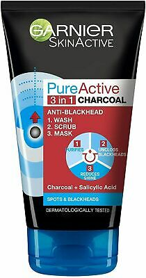 ** Garnier Pure Active 3 In 1 Charcoal Anti Blackhead Wash Scrub Mask  New **