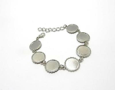 Silver bracelet blank setting for 16 mm round cabochon or resin jewellery making