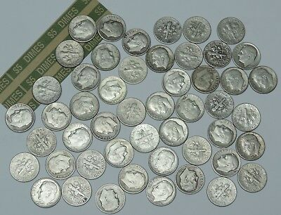 Roosevelt 90% Silver Dimes Roll 50 Coins $5 Face Value 1946-1964 G F XF and AU