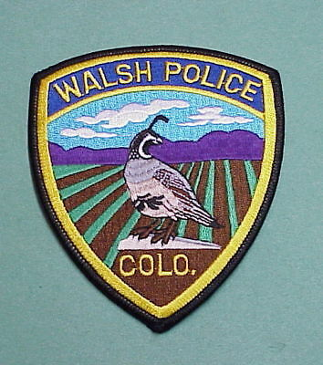Walsh  Colorado  Co   Police Patch   Free Shipping!!!