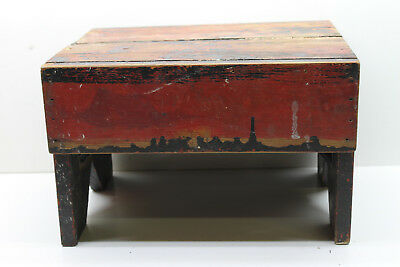 """Antique 13"""" W 10"""" D 9"""" T Upstste NY Milking Farm Stool Great Colors! V. Sturdy"""