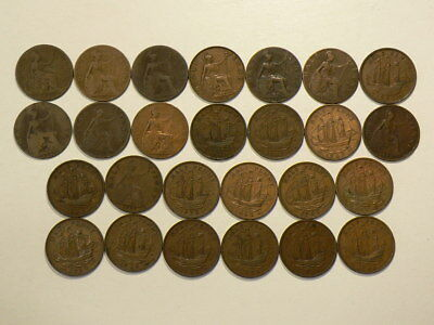 1885 to 1967 Great Britain Half Penny  Lot of 26 Coins  #G8441