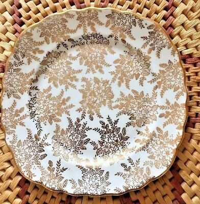 Vintage Royal Vale Bone China Gold Chintz Tea Plates x 2 only £12.99 Free PP