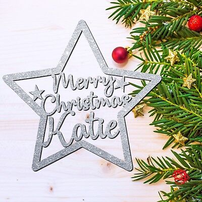 Personalised Christmas Tree Decoration Bauble Family Baby Star Ornament+GLITTER!