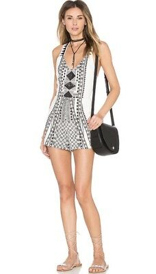 bc17739d076d MinkPink Eco Warrior Embroidered Tribal Romper Playsuit Open Back XS