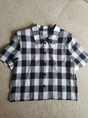 bf59794593929 Kathie Lee Size 10 Black  White Checkered Blouse Shirt Short Sleeve Button  Front