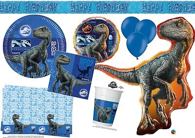 BLUE Jurassic World Birthday Party Tableware Dinosaur Decorations T-Rex