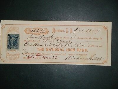Promissory Note. National Iron Bank. Oct. 19, 1871. Morristown, N.J.