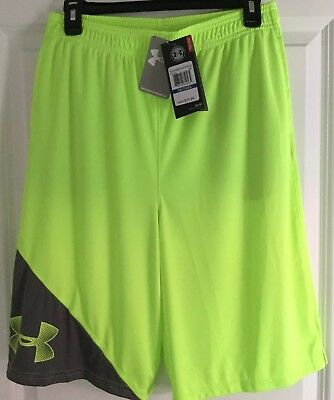 32863acad60b2 Nwt Under Armour Tech Prototype Fuel Green   Gray Shorts Boys Size Youth Xl