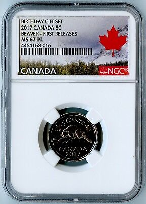 2017 Canada Ngc First Releases Ms67 Pl Birthday Gift Set-Beaver 5 Cents 5C!