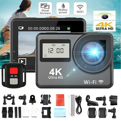 4K 1080P HD 2'' Dual Screen Sport Action Camera DV WiFi Waterproof As Go Pro KK