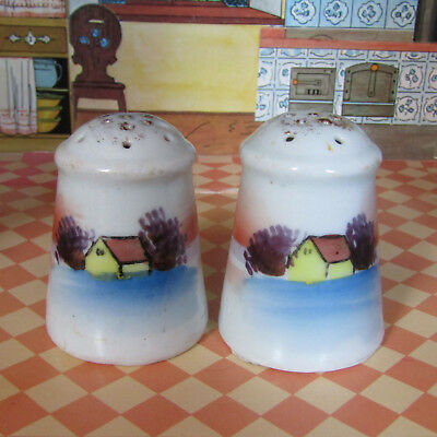 Antique Early 1900s HOUSE TREE Edwardian Painted Salt Shakers Porcelain Japan