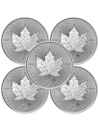 Lot of 5 - 2018 $5 Silver Canadian Maple Leaf 1 oz Brilliant Uncirculated