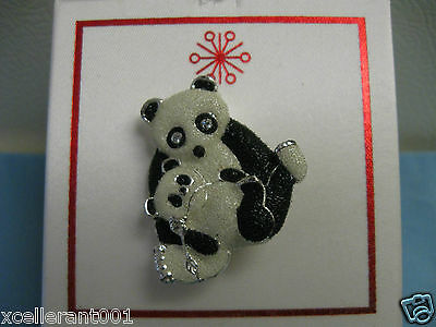 Panda Bear and Baby Pin Brooch Costume Jewelry