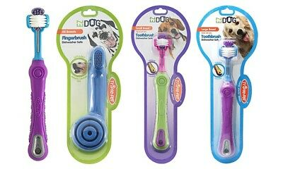 3-Pack Triple Pet EZ Dog Three-Sided Toothbrush or Finger Toothbrush for Dogs