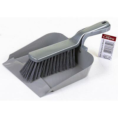 Large Metal Dustpan & Brush Set 2 Piece Set Kitchen Home W/ Grey Plastic Handles