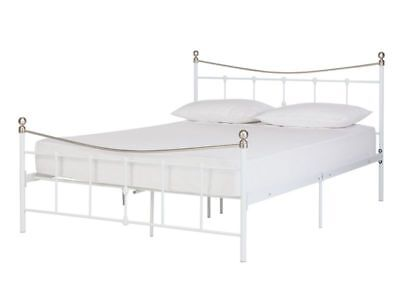 METAL DOUBLE BED frame - gunmetal and brushed nickel - £60.00 ...