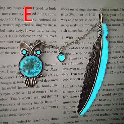 1X Luminous Night Owl Bookmark Label Read Maker Feather Book Mark Stationery E
