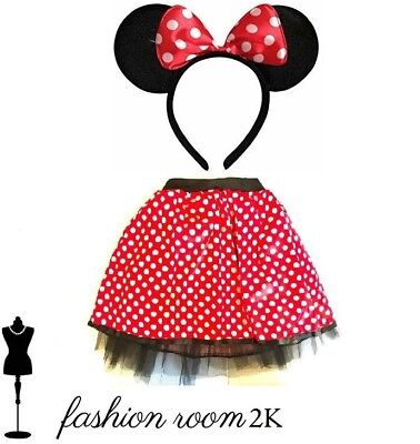 Fancy dress adult minnie mouse disney adults headband ears & tutu skirt costume