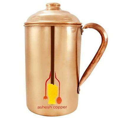 100% Pure 1.5 LTR Copper Water Jug Pitcher New Copper Indian Ayurveda Product UK