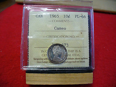 1965  Canada   Dime  10 Cents  Piece   Coin   I.c.c.s. Graded Pl 66 Cameo