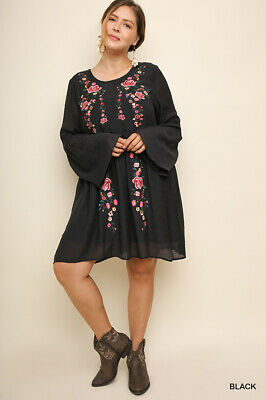 UMGEE Black Floral Embroidered Ruffle Detail Dress Plus Size XL