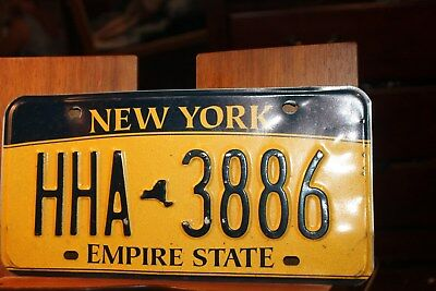 2010 New York Empire State License Plate HHA 3886 (B) BENT