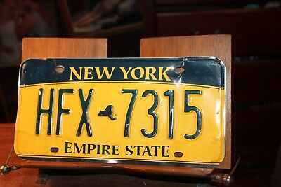 2010 New York Empire State License Plate HFX 7315 (B) BENT TORN