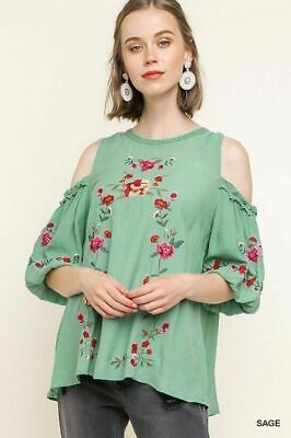 UMGEE Sage Floral Embroidered Cold Shoulder Puff Sleeve Top Plus Size