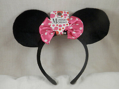 Disney Minnie Mouse Satin Pink Bow Ear headband childs youth NWT