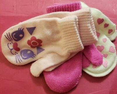 3 Pack Kids Fingerless Gloves/Mittens Pink Cat/Solid White Hearts Warm &Toasty