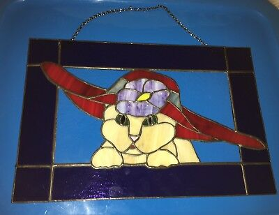Stained Glass Window Panel Cat In A Red Hat Hanging Art Decor Signed PPW