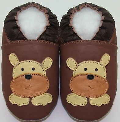 soft sole leather baby shoes Minishoezoo bulldog 5-6 years toddler slippers