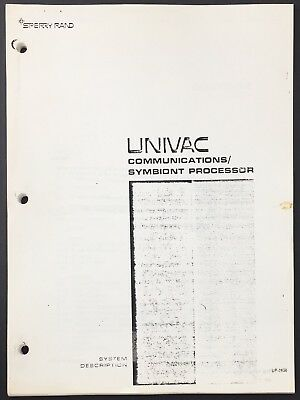 Sperry Univac Communications Symbiont Processor System Description 1971 Reprint