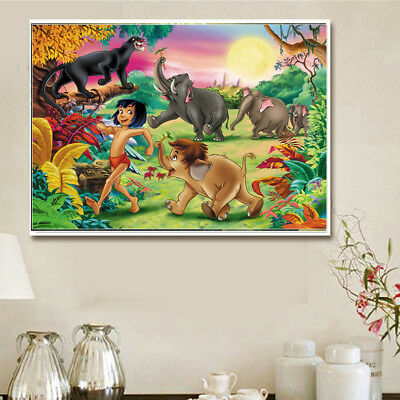 AU Mowgli & Animal Full Drill 5D Diamond Painting Embroidery Cross Stitch Kit LE